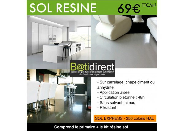 Kit r sine autolissante pour sol sol 39 express batidirect for Resine industrielle pour sol